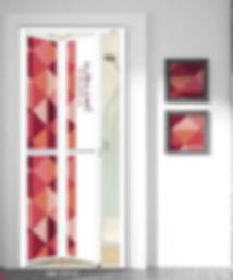 Toilet Door Singapore Red Square Design Aluminium Bifold Door