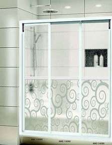 Showerscreen Singapore - Aluminium frame with design panel , 3 panel showerscreen in Singapore