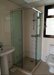 corner entry tempered glass shower screen Singapre  glass door Singapore - shower screens