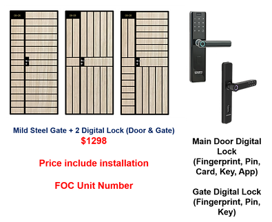 Mild Steel Gate + 2 Digital Lock $1298.p
