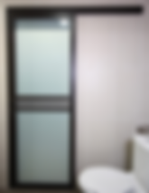 glass sliding door singapore for HDB toilet | black aluminium frame with nashiji and tea glass