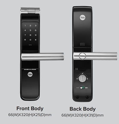 Yale 40 digital lock front and back view with size and dimension | yale YMF 40 digital lock singapore