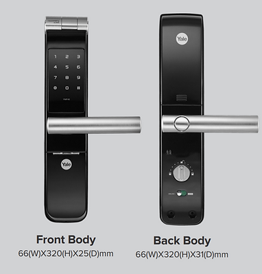 Yale 40 Digital Lock Front And Back View With Size And Dimension | Yale YMF  40