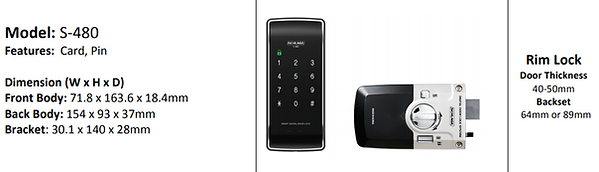 Schlage S-480 Digital Lock Specification
