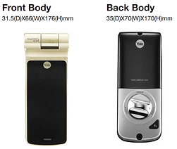 Yale 424 digital lock front and back view with the size and dimension