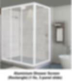 acrylic shower screen Singapore - aluminium shower screen rectangle - 1 fix, 3 panel slide