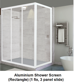 acrylic shower screen Singapore - aluminium shower screen rectangle - 1 fix, 3 panel slide