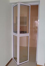 cheap bifold door for HDB kitchen entrance door | bifold door mechanism | top hung bifold door for kitchen entrance