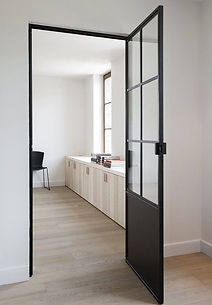 Mild steel glass door with metal plate