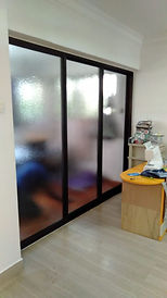 Living room divider with aluminum slidin