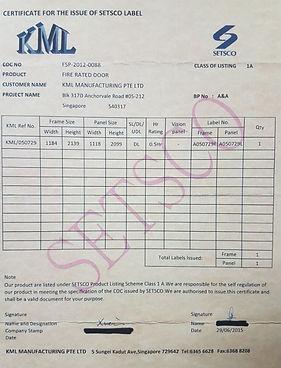 Fire rated door certificate to proof main door is real fire rated in Singapore