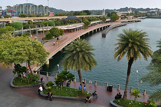 Walk along the broadwalk at Vivo city sh