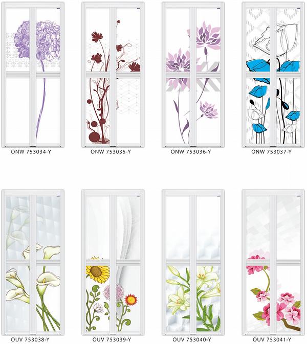 Designer bifol door singapore blue flower design | Designer toilet door floral design