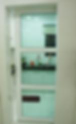 sliding door for kitchen entrance singapore | White aluminium frame withgreen tinted glas