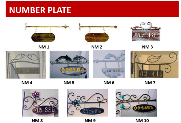 HDB iron gate hanging number plate