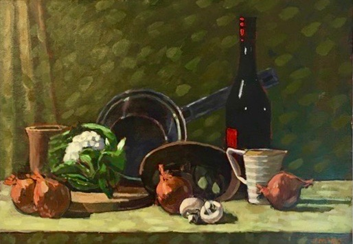 Wine Bottle and Pan