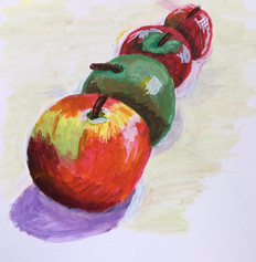 Apples in a line