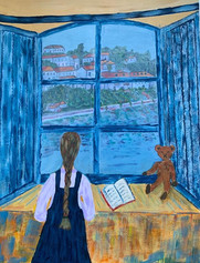 """""""Room with a View"""" ( Granddaughter looking across Lake Como)"""
