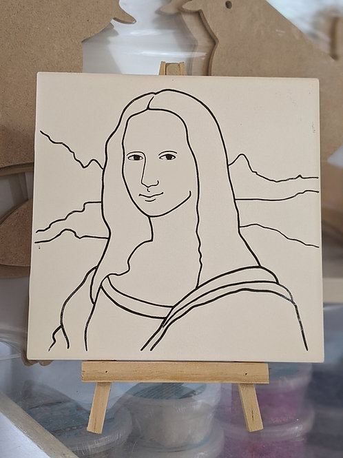 MONA LISA & EASEL Ceramic + Paints Kit
