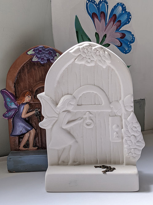 £10.50 FAIRY with FAIRY DOOR Ceramic + Paints Kit