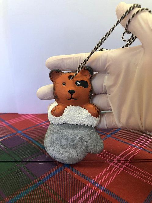 Teddy BEAR in glove- tree hanger Ceramic only
