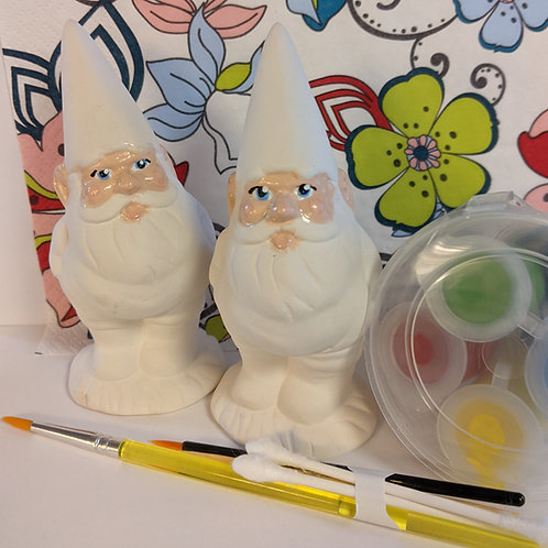 Pair of Gnome ceramic + Paints Kit