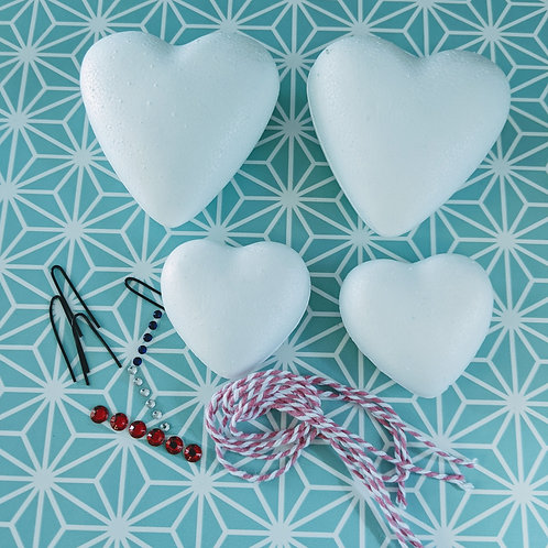 HEARTS (4 pack) for Decoupage, foam & pearl clay