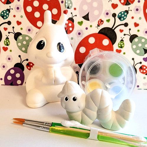 Ladybird & Caterpillar Ceramic + Paints Kit