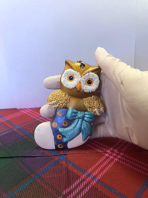 OWL in STOCKING tree hanger Ceramic only