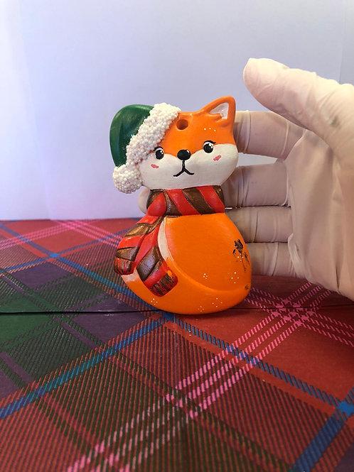 FOX with Santa hat tree hanger Ceramic only
