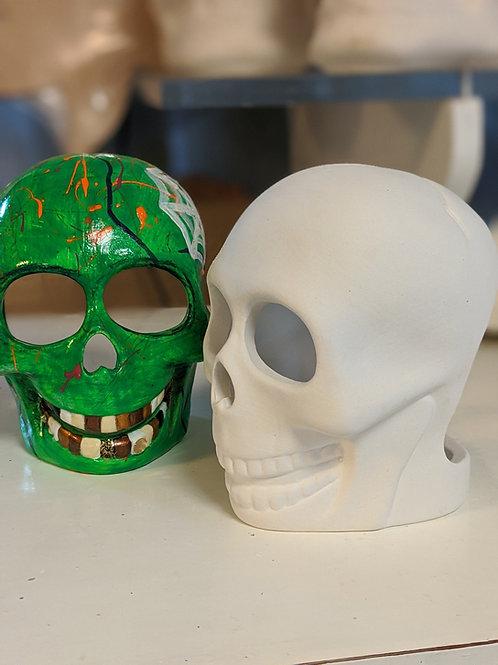 Hollow SKULL T-LIGHT Ceramic + Paints Kit