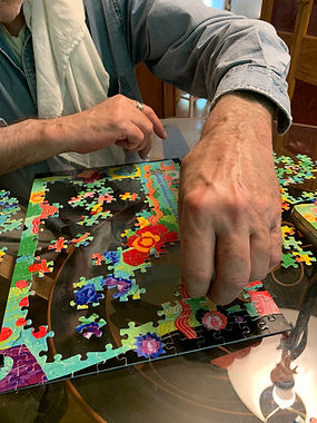 Annie's hand painted paper collage has become a print on demand puzzle. Applied deisgn inspired by a spring garden 2020