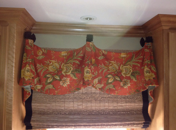 Cordless woven woods with accent trim