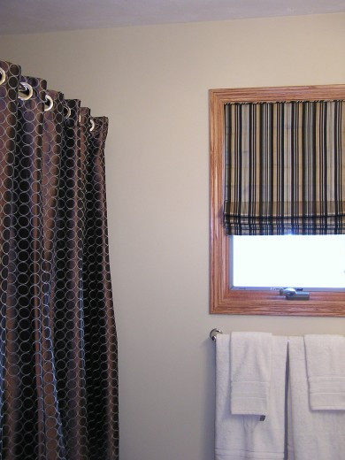 Roman shade and shower curtain
