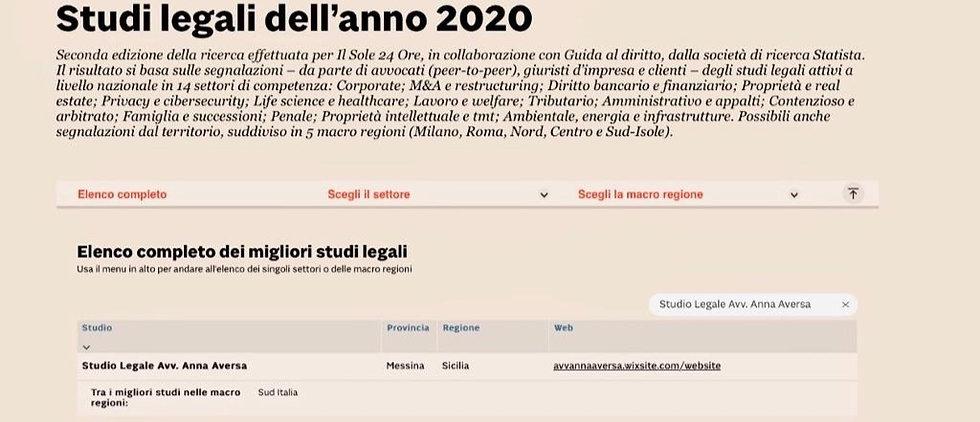 STUDI LEGALI DELL'ANNO 2020
