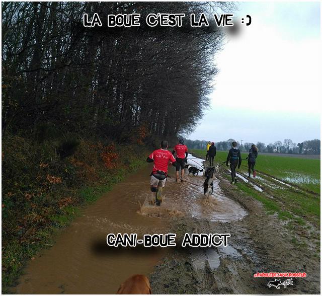 j'aime le canicross, j'aime mon chien, j'aime la boue !