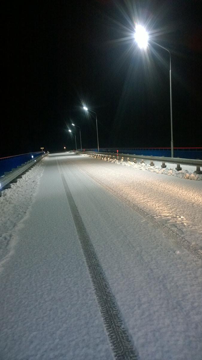 Адбудаваны бэтонны новы мост ў Сіняўскай Слабадзе ў пачатку сьнежня 2017 году.