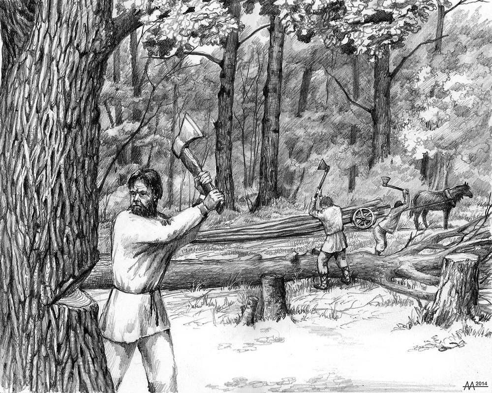 Logging in Naliboki Forest, 16th-18th centuries. Drawing by Aliaksandr Mitianin.