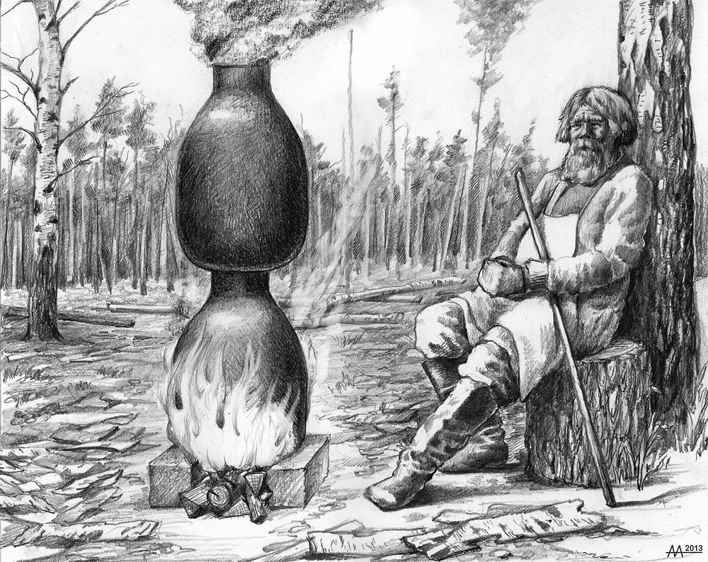 Tar-getter in Naliboki Forest, 16th-18th centuries. Drawing by Aliaksandr Mitianin.