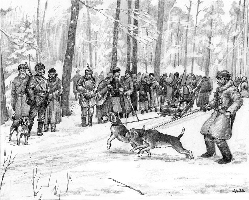 Preparation to a hunt-drive for Radzivil and his noble guests, 18th century. Drawing by Aliaksandr Mitianin.