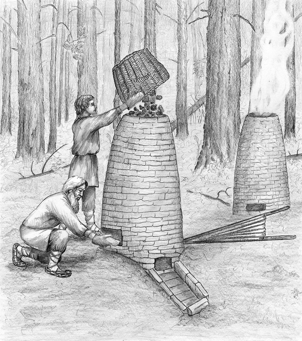 In Naliboki Forest during the 16th-18th centuries with such  small furnaces an iron was extracted from a bog iron ore by local people. Drawing by Anna Sidorovich.