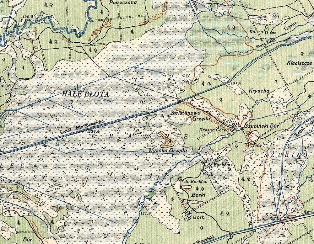 Мейсцазнаходжаньне Краснай Горкі (Krasna Gorka, па цэнтру справа) на польскай мапе 1920-х гадоў (Warsaw, 1924)