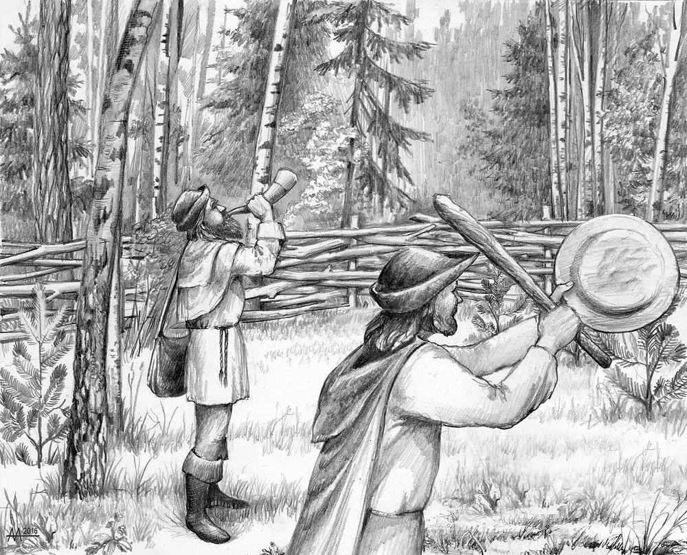 Drive-hunting on wolves in Naliboki Forest,    17th century. Across corrals with fenced sides well-hidden among trees and bushes, which gradually narrowed, wolves were driven into special pitfalls with wooden sharp peaks inside at thebottom. Drawing by Aliaksandr Mitianin.