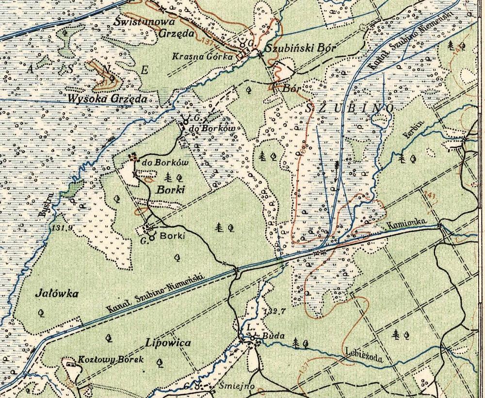 Мейсцазнаходжаньне Баркоў ((Borki, па цэнтру зьлева) на польскай мапе 1920-х гадоў (Warsaw, 1924).