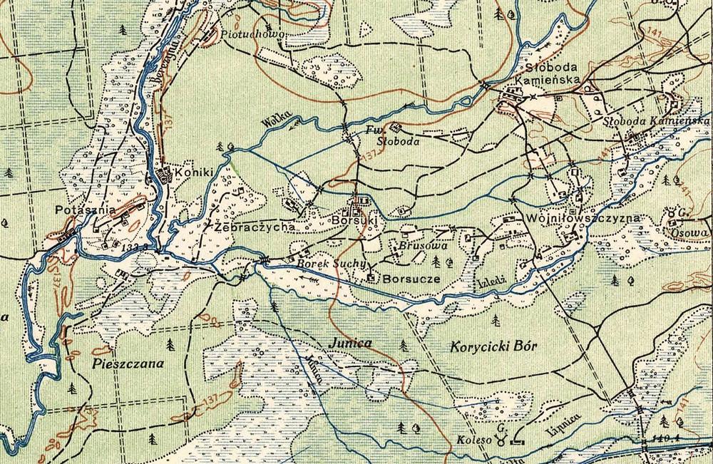 Мясьціны ў сутоках Волькі й Ізьлядзі з польскай мапы 1924 году (Warsaw, 1924).