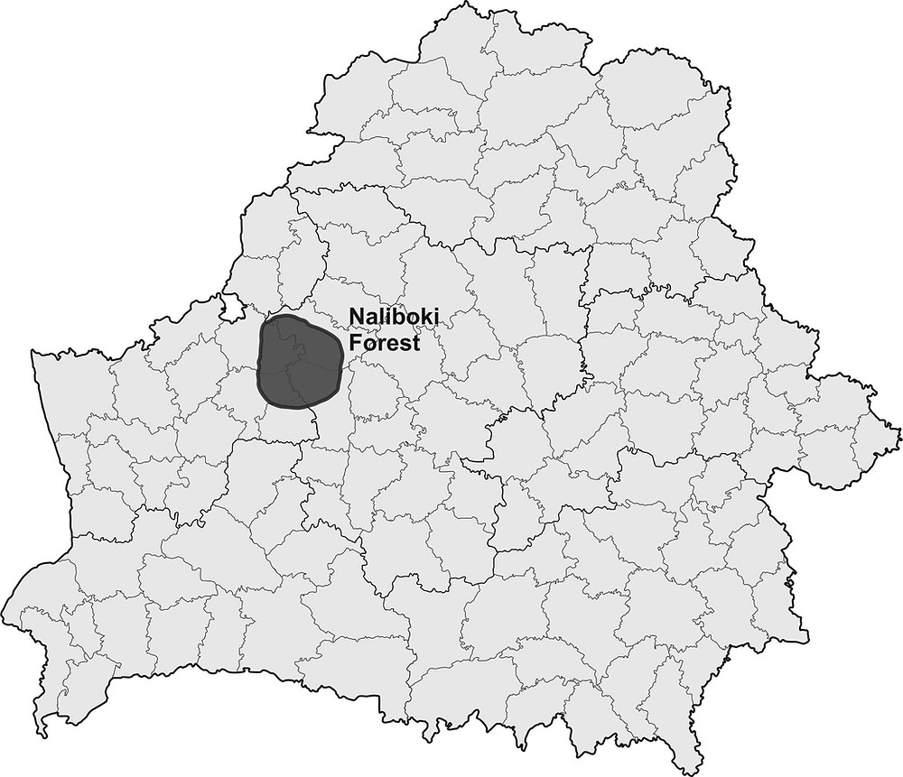 Naliboki forest on the map of Belarus