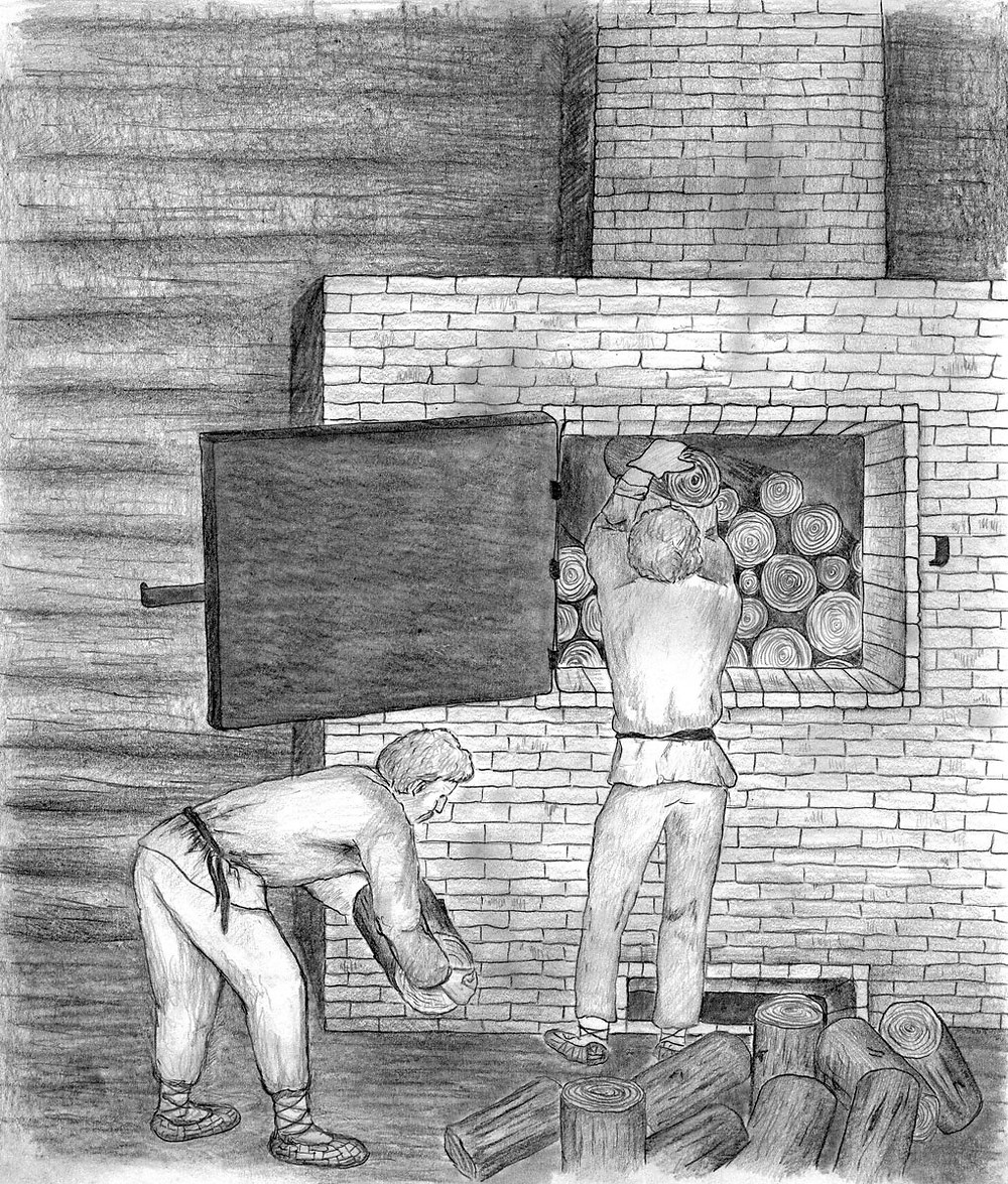 Workers at a buda stoaf.  Drawing by Anna Sidorovich.