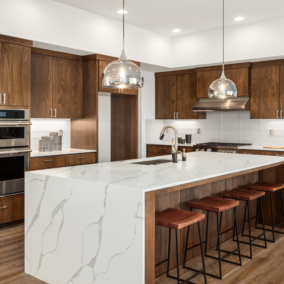 Kitchen in new luxury home with quartz