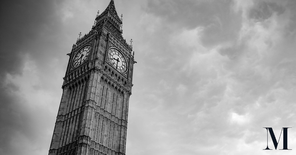 Big Ben against grey clouds