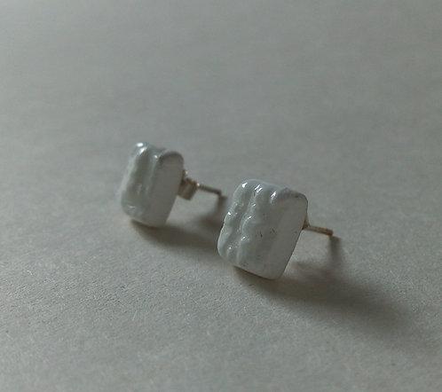 China Rectangular Textured Earrings. Ceramic Earrings.  Stud Earrings.